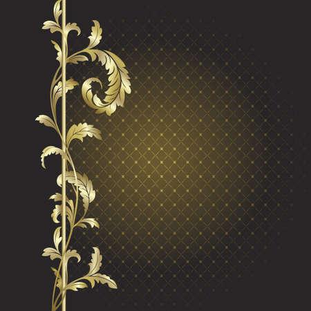 Sfondo marrone con piante d'oro