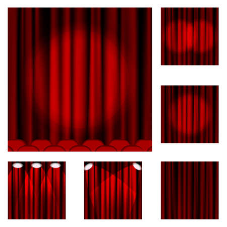 playhouse: Set of red curtains to theater stage.This file contains transparency.