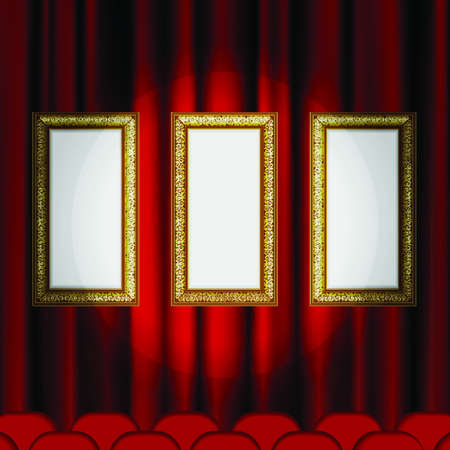 Frame on the background of red theater stage curtains. This file contains transparency. Stock Vector - 15562286