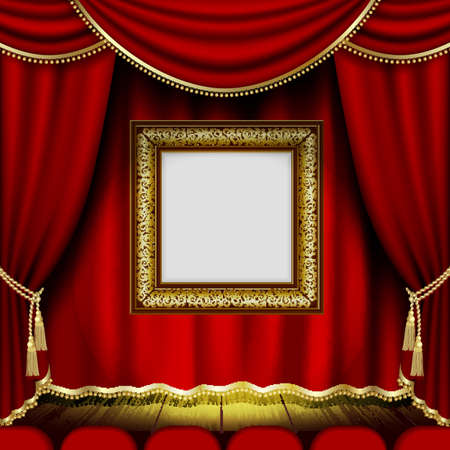Frame on the background of red theater stage curtains.This file contains transparency. Illustration