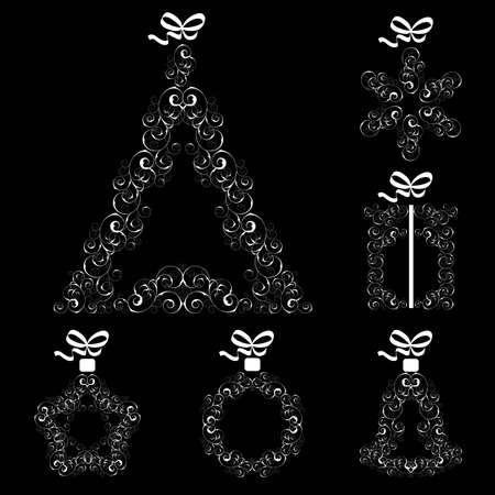 Collection of Christmas openwork elements on a black background Stock Vector - 15835569