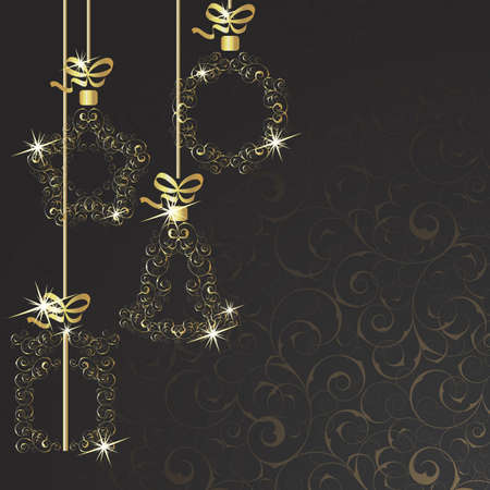 Background with Christmas decorations on a black background Stock Vector - 15835591