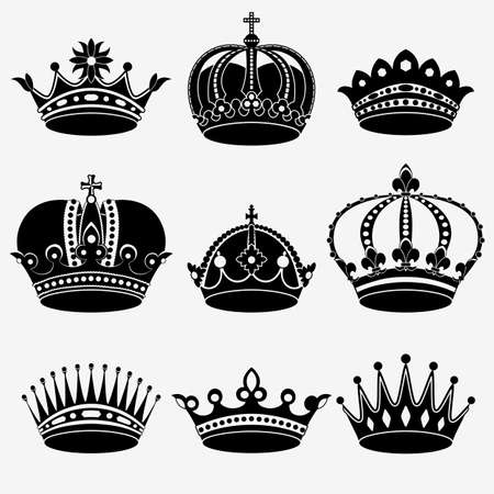 Set of nine crown on the white background