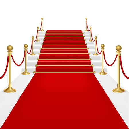 red carpet background: Red carpet with ladder  Clipping Mask  Mesh  Stock Photo
