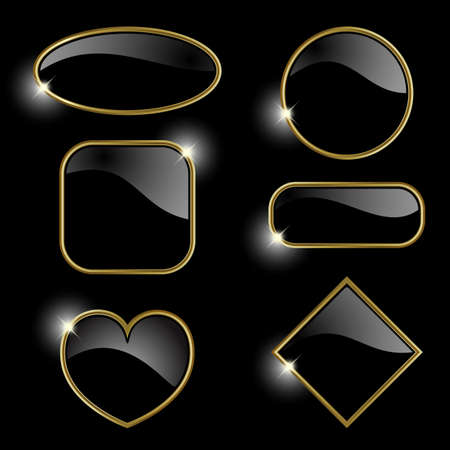 Set from  gold frames on the black background  photo