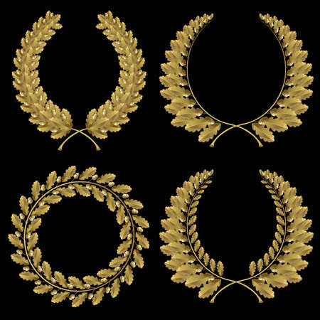 Set from  gold oak wreath on the black background  photo
