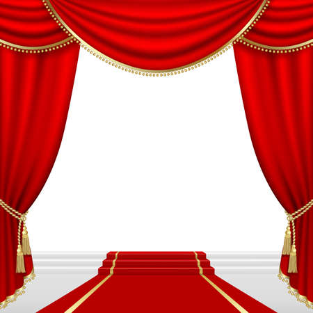 theatrical: Theater stage  with red curtain  Clipping Mask  Mesh