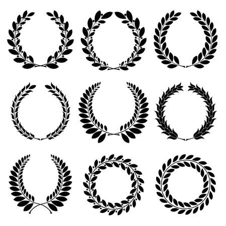 laurels: Set from  black laurel wreath on the white background  Stock Photo