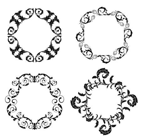 Set of floral design elements on the white background Stock Vector - 17304628