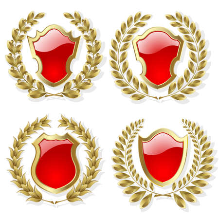shiny shield: Set of heraldic gold and red design elements Illustration