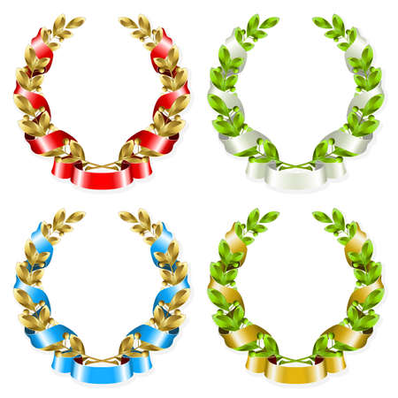 Set of laurel wreaths with ribbon on the white background  Vector