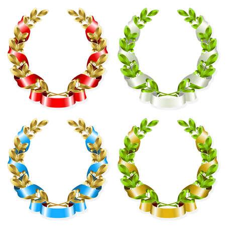 laurel leaf: Set of laurel wreaths with ribbon on the white background  Illustration