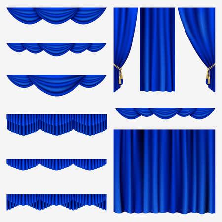 rideau sc�ne: Ensemble de rideaux bleus � maille sc�ne de th��tre Illustration