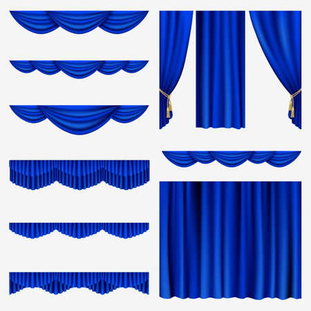 Set of blue curtains to theater stage  Mesh