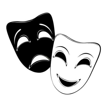 Máscara teatral en un fondo blanco Ilustración de vector