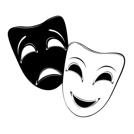 black mask: Theatrical mask on a white background  Illustration