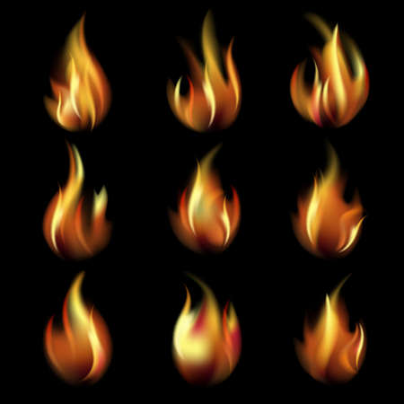 Collection of friezes from the fire on a black background This file contains transparency  EPS10  Mesh  Vector