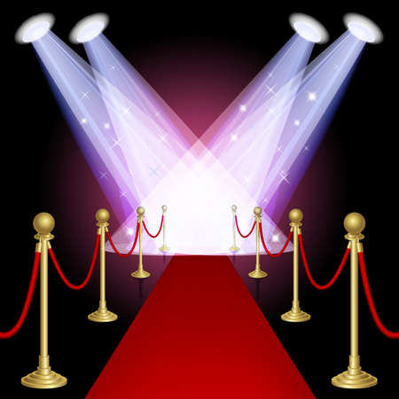 hallway: Red carpet with spotlight Mesh This file contains transparency EPS10