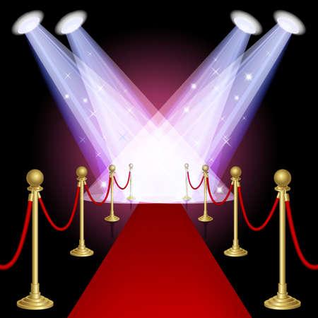 Roter Teppich mit Spotlight Maschen Diese Datei enthält Transparenz EPS10 Illustration