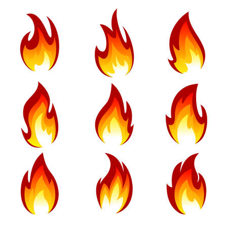 Flames of different shapes on a white background