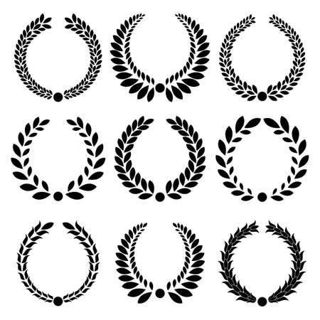 Set from  black laurel wreath on the white background  Vector
