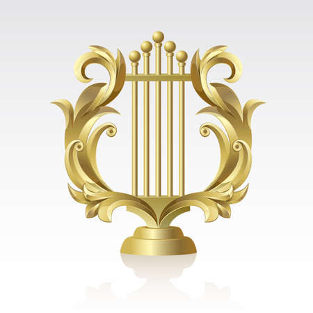 Golden Golden Lyre on a white background on a white background
