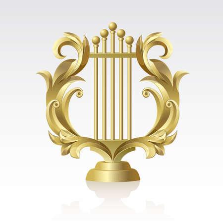 harfe: Golden Golden Lyre auf einem wei�en Hintergrund auf einem wei�en Hintergrund Illustration