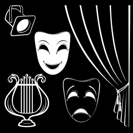 tragedy mask: Collection of theatrical characters on black background Illustration