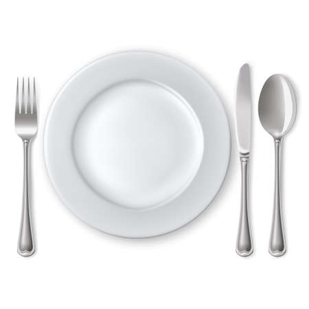 Piatto vuoto con il cucchiaio, coltello e forchetta su uno sfondo bianco. Mesh. Maschera di ritaglio.