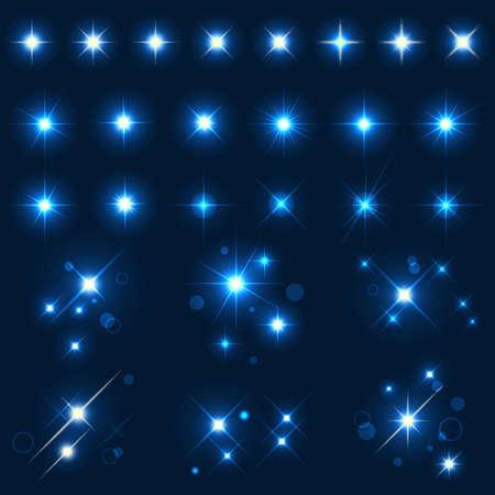 estrellas: Colecci�n de diversas formas de chispas. EPS10. Archivo Mesh.This contiene transparencia. Vectores