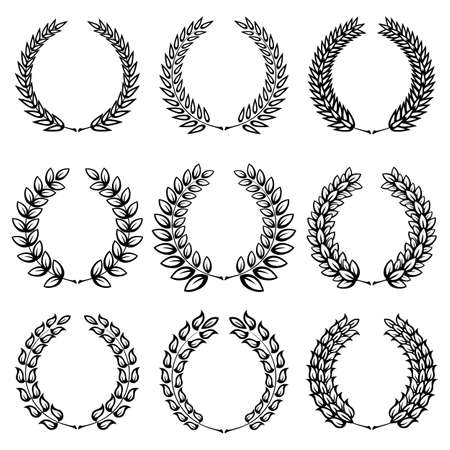 laurel leaf: Set from  black laurel wreath on the white background  Illustration