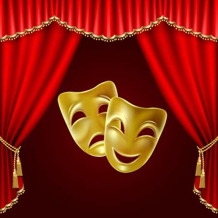 빨간색 배경에 연극 마스크입니다. 메시. 클리핑 마스크