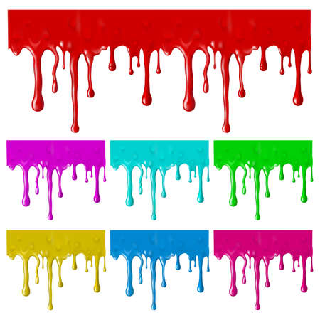 blood drops: Border of paint drips of different colors. Mesh. Clipping Mask.(can be repeated and scaled in any size)  Illustration