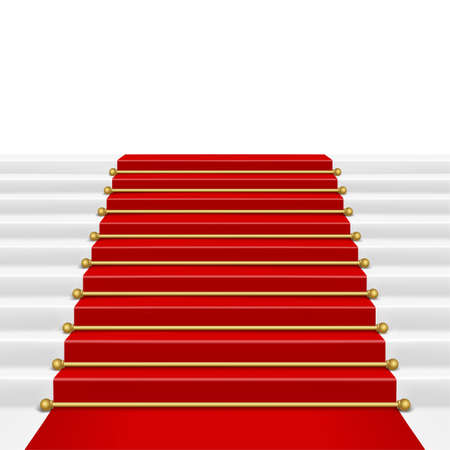 clipping mask: Red carpet with ladder. Clipping Mask. Mesh.