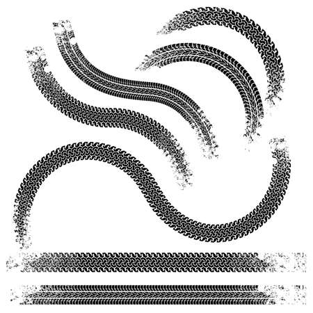 dirt texture: Le tracce di raccolta di pneumatici in bianco e nero Vettoriali