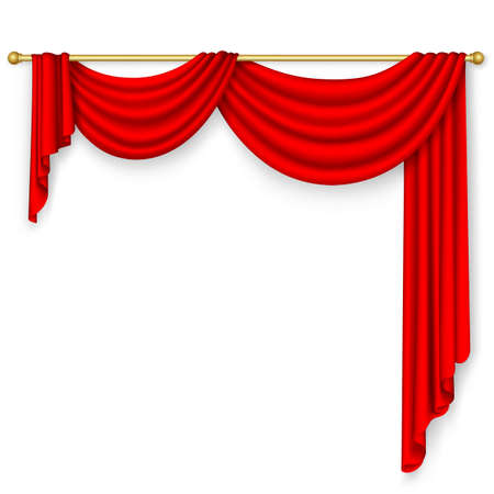Red curtain on the white background  Mesh  Vector