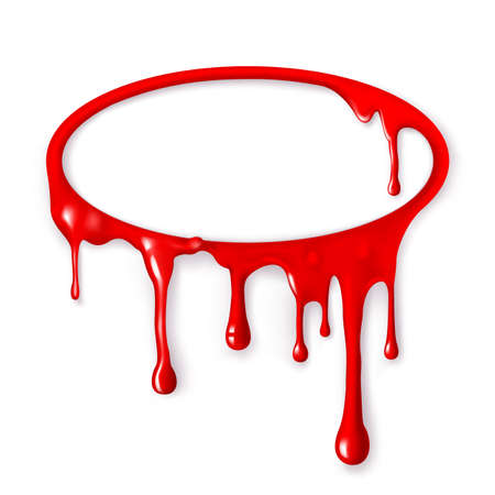 paint drips: Frame of paint drips of red color  Mesh  Clipping Mask