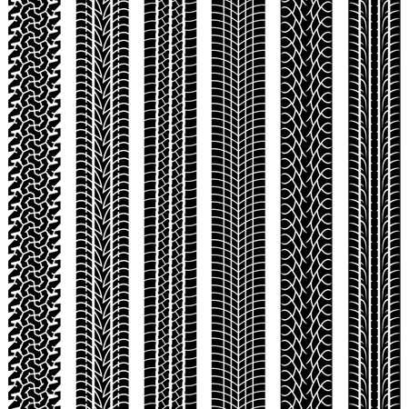Le tracce di raccolta di pneumatici in bianco e nero