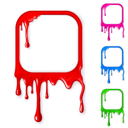 paint drop: Frames from a drop of paint of different colors. Mesh. Clipping Mask. Illustration