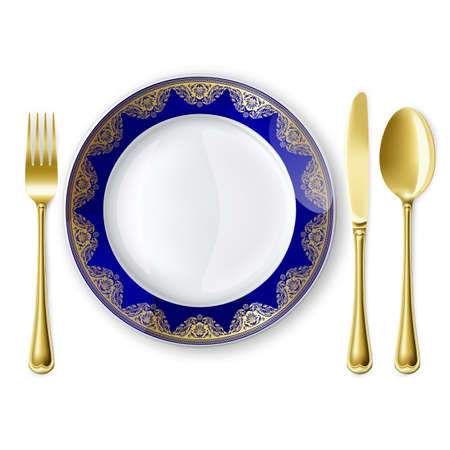 breakfast plate: Empty plate with spoon, knife and fork on a white background. Mesh. Clipping Mask.This file contains transparency.