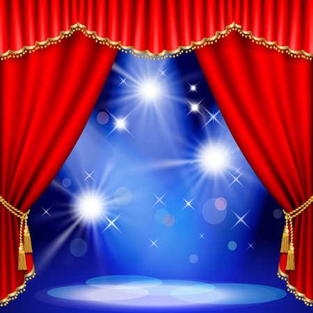 赤いカーテンの劇場の舞台。メッシュ。EPS10。このファイルには透明度が含まれています。  イラスト・ベクター素材