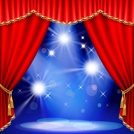 Theater stage  with red curtain. Mesh. EPS10. This file contains transparency. Stock Vector - 23071177