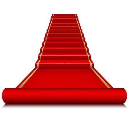 Alfombra roja con escalera Foto de archivo - 26025646