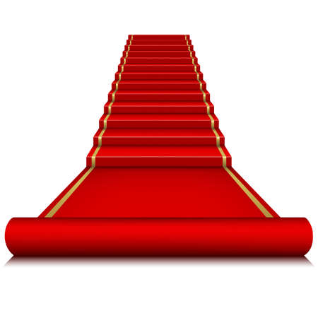 Red carpet with ladder   Ilustrace