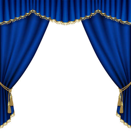 telon de teatro: Etapa del teatro con la cortina azul. Malla.