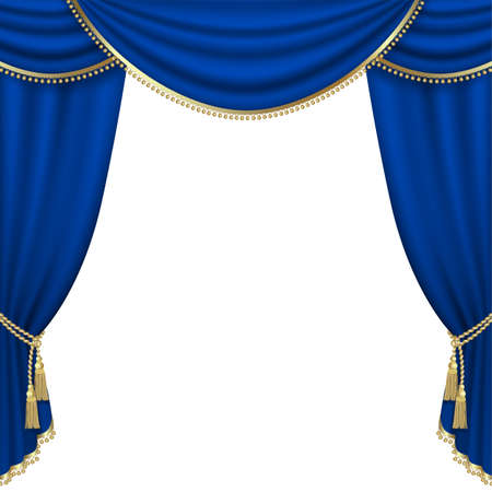 gold string: Theater stage  with blue curtain. Mesh. Stock Photo