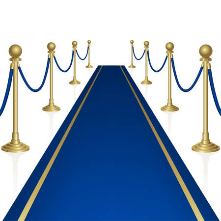 blue carpet: Blue carpet with guard. Clipping Mask. Mesh. Stock Photo