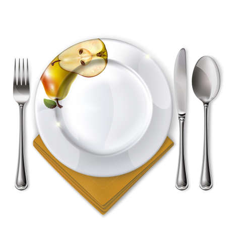 Empty plate with spoon, knife and fork on a white background  Mesh  Clipping Mask  Vector