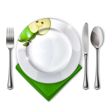 empty plate: Empty plate with spoon, knife and fork on a white background  Mesh  Clipping Mask