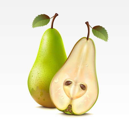 fruited: Two pears on a white background  Mesh